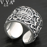 V.YA Genuine Silver 925 Ethnic Style Ring For Men Big Wide Rings 3D Clear Engraved Open Ring Vintage Male Jewelry