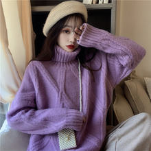Женский вязаный свитер с ромбовидным вырезом утепленный пуловер