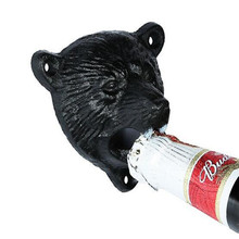 1pcs Vintage Bottle Opener Creativity Black Bear Head Cast Iron Wall Mounted Wine Beer Opener Tools Bar Drinking Accessories