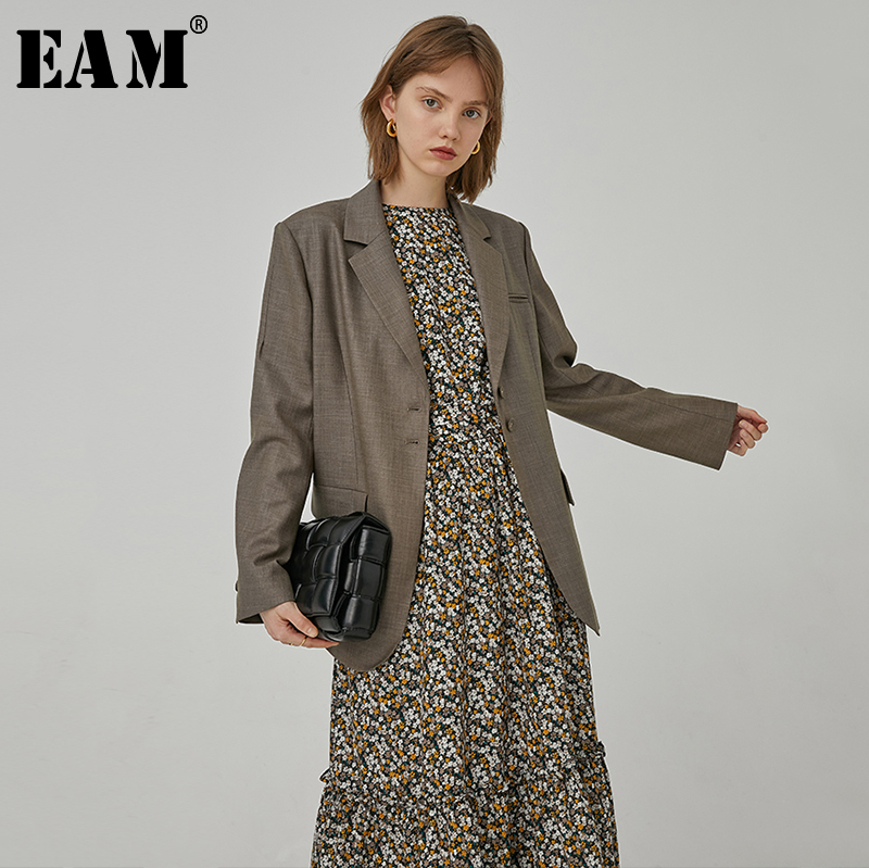 [EAM]  Women Brown Pocket Brief Temperament Blazer New Lapel Long Sleeve Loose Fit  Jacket Fashion Tide Spring Autumn 2020 1R763