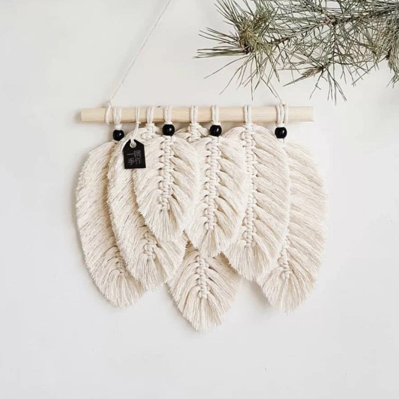 Nordic Ins Studio Clothing Home Photography Props Gift Boho Decoration Small Macrame Leaf Feather Wall Tapestry Headboard