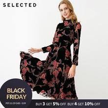 נבחר קטיפה מודפס ארוך שרוול שמלת S | 41842J502