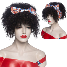 Afro Kinky Curly Wig African Turban Wig Wrp and Wig Linked Headband Wigs Box Braids Synthetic Head Wrap Wig