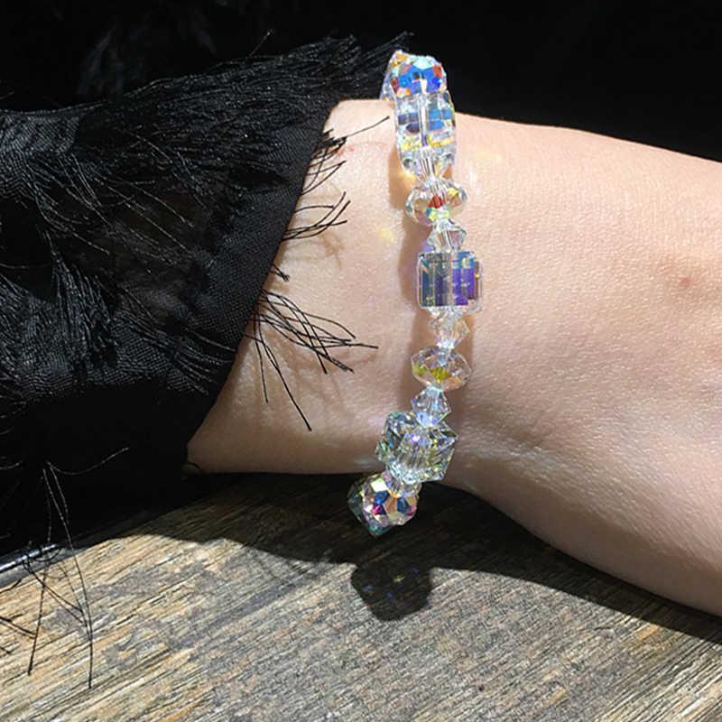 כפול הוגן קריסטל קוביית צמיד לנשים כיכר זכוכית צמיד נוצץ מעודן יוקרה כסף צבע תכשיטים KAH154