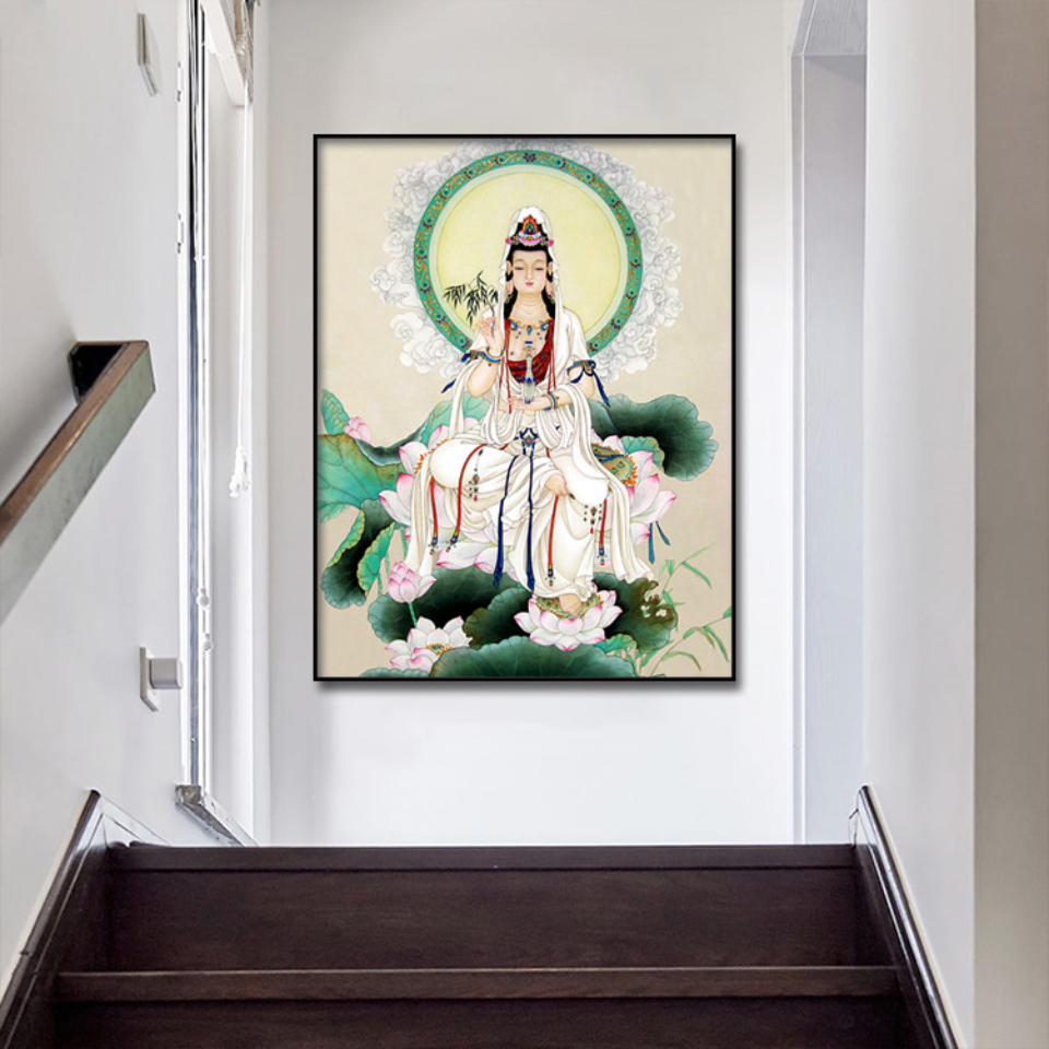 Gongbi Guanyin Buddha Statue Canvas Poster  Wall Art Print Modern  Painting Nordic Kid Bedroom Decoration Picture (1)
