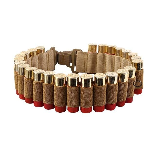 Tactical 25 Rounds 12/20 Gauge Shotgun Ammo Belt Shell Holder Bandolier Belt Military Hunting Gun 12/20 GA Bullet Cartridge Belt 3