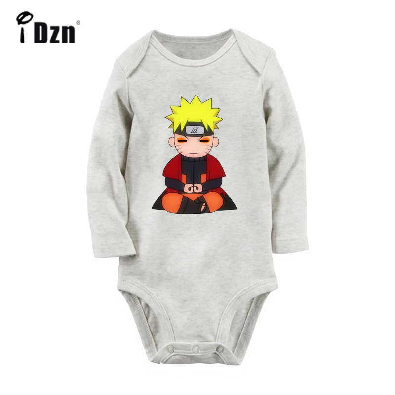 Anime Naruto Konoha Nara símbolo Naruto Chibi diseño bebé recién nacido Bodysuit niño manga larga Onsies mono ropa de algodón