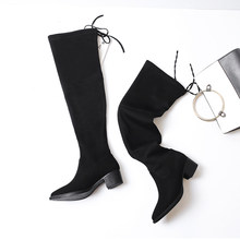 Fashion sexy boots shoes over the knee thigh women boots autumn and winter ladies sorghum leather boots large size 35-43(China)