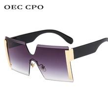 OEC CPO Oversized Rimless Sunglasses Women Fashion High Quality Big Frame Men Square Sun Glass Female Gradient Shades UV400 O118