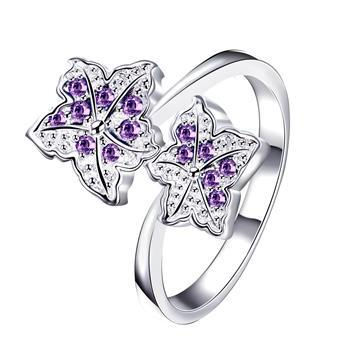 Newest Fresh Fashion Elegant Double Petal Women's Ring Purple Jewelry for Women Jewelry 2021 Gift for Lady Spr065 image