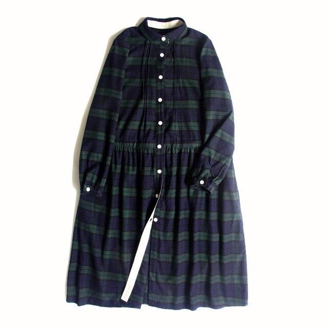 Peter Pan Collar Dark Green Plaid England Style Long Sleeve Dress 1