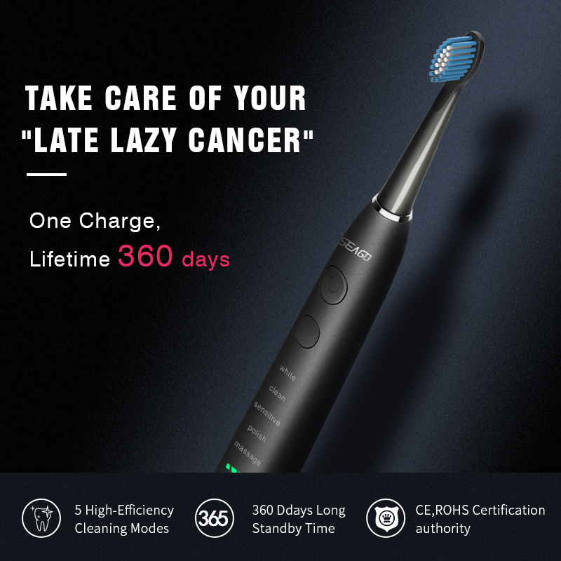 H9e181b41682d4be295652935a3c67f5c5 - SEAGO Sonic Electric Toothbrush Upgraded Adult Waterproof USB Rechargeable 360 Days Long Standby Time With5 Brush Head Best Gift