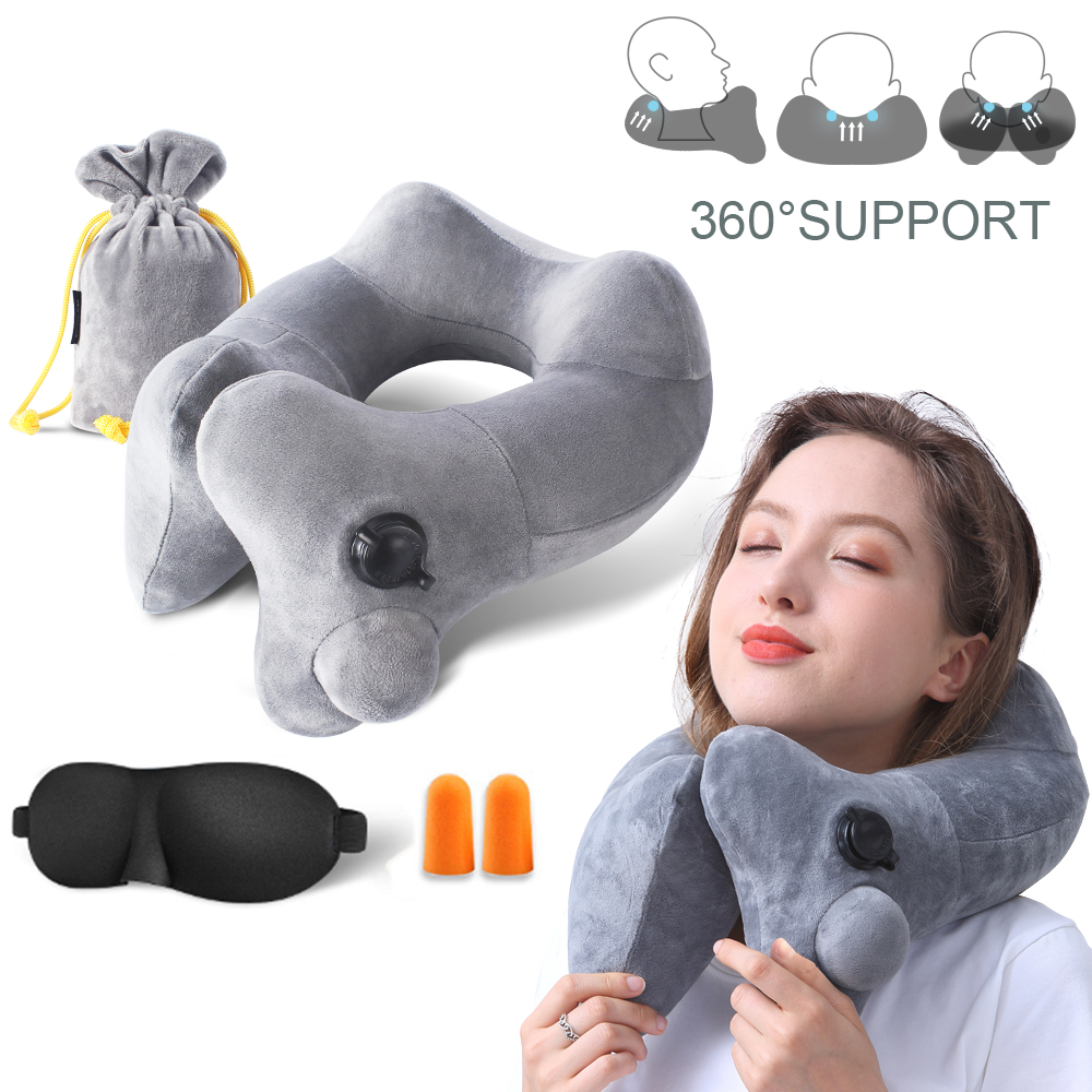 New U-Shape Inflatable Travel Neck Pillow for Airplane Train Sleep Comfortable Soft Velvet Neck Pillow Support Headrest image