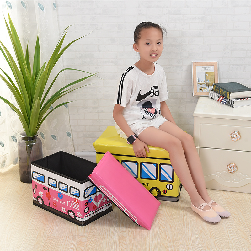 Children Toy Car Storage Chair Box Adult Children Toy Storage Box Household Clothes Fabric Finishing Box|  - title=