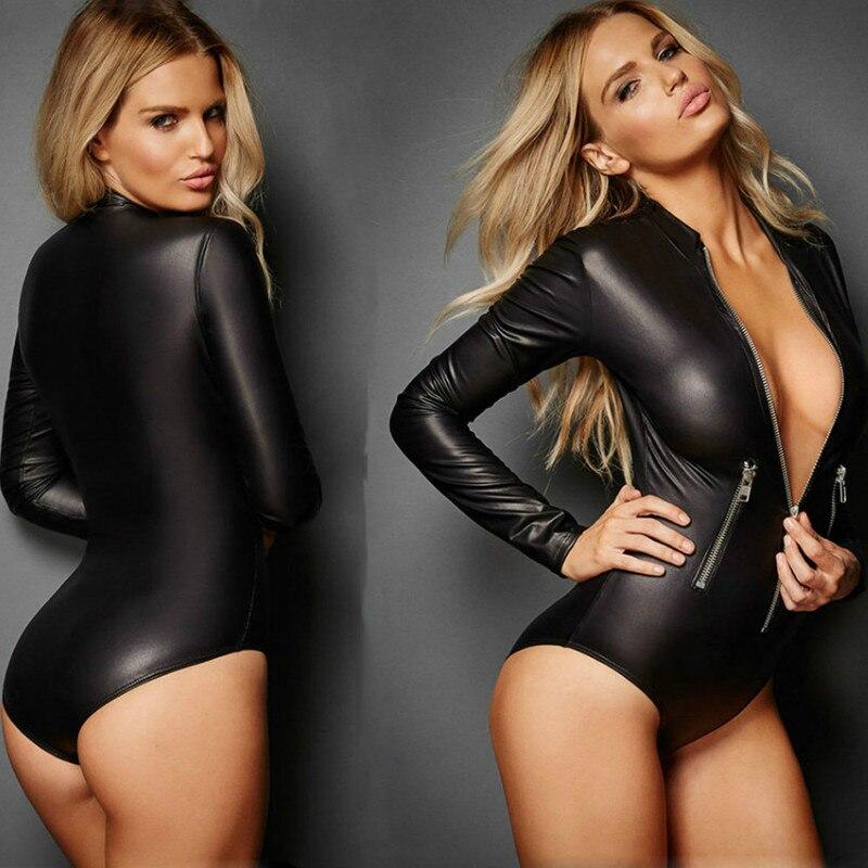 Plus Size Female Bodysuit Sexy Lingerie Leather Women Front Zipper Hot Erotic Underwear Ladies Latex Catsuit Spandex Leotard Sex