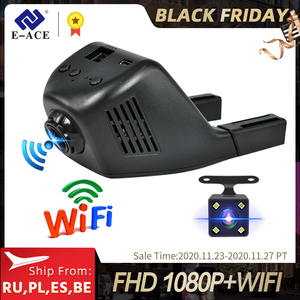 E-ACE Mini Wifi Car Dvr Dash Camera Video Recorder Camcorder Dual Lens With Rear View Camera FHD 1080P Auto Reistrator Dashcam