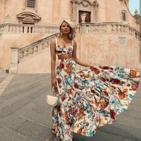 Bellflower Floral Summer Maxi Dress Women Sleeveless Bohemian Long Beach Sexy Dresses Plus Size Dress 2 Piece Set Women