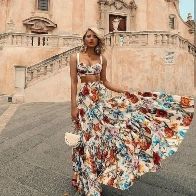 Verão floral maxi vestido feminino estilo boêmio sem mangas 2 peça conjunto vestidos ropa mujer boho chique vestido de praia mais tamanho