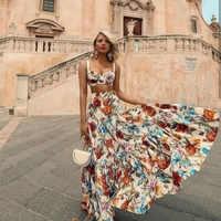 Verano floral maxi Vestido mujer estilo bohemio sin mangas 2 piezas conjunto vestidos ropa mujer boho chic Vestido de playa de talla grande