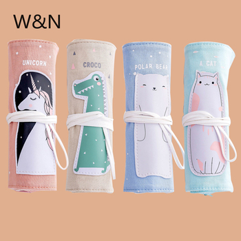Unicorn Pencil Case For girls Canvas School Pencil Case Roll Up Pencil Bag Portable Pencil Box School Supplies material escolar