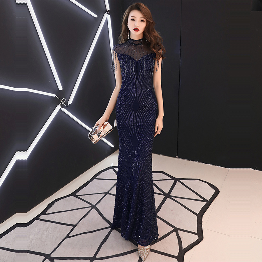 High Collar Floor Length Elegant Formal Gown Evening Dress 2019 New Bling Sequin Evening Dresses for Women Robe De Soiree F265-1