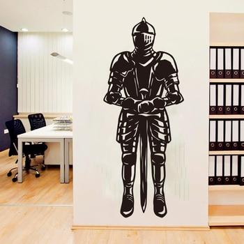 Pegatina de decoración de pared de Guerrero romano para el hogar armadura y espada para hombres para decoración de pared de vinilo para habitación de niños S120