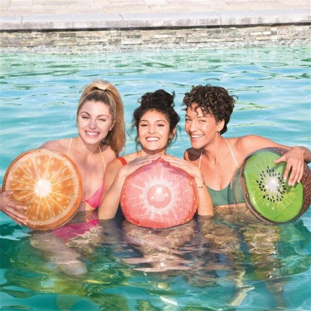 New Style Online Celebrity-Inflatable 3D Ball 46 Cm Watermelon Ball PVC Water Toys Orange Ball Folding Beach Ball 2