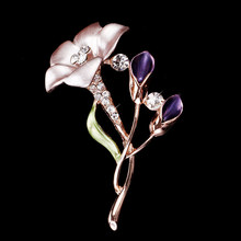 Fashionable Electroplating Zinc Alloy and Rhinestones Flower Brooch Pin Women Garment Accessories Jewelry Brooch(China)
