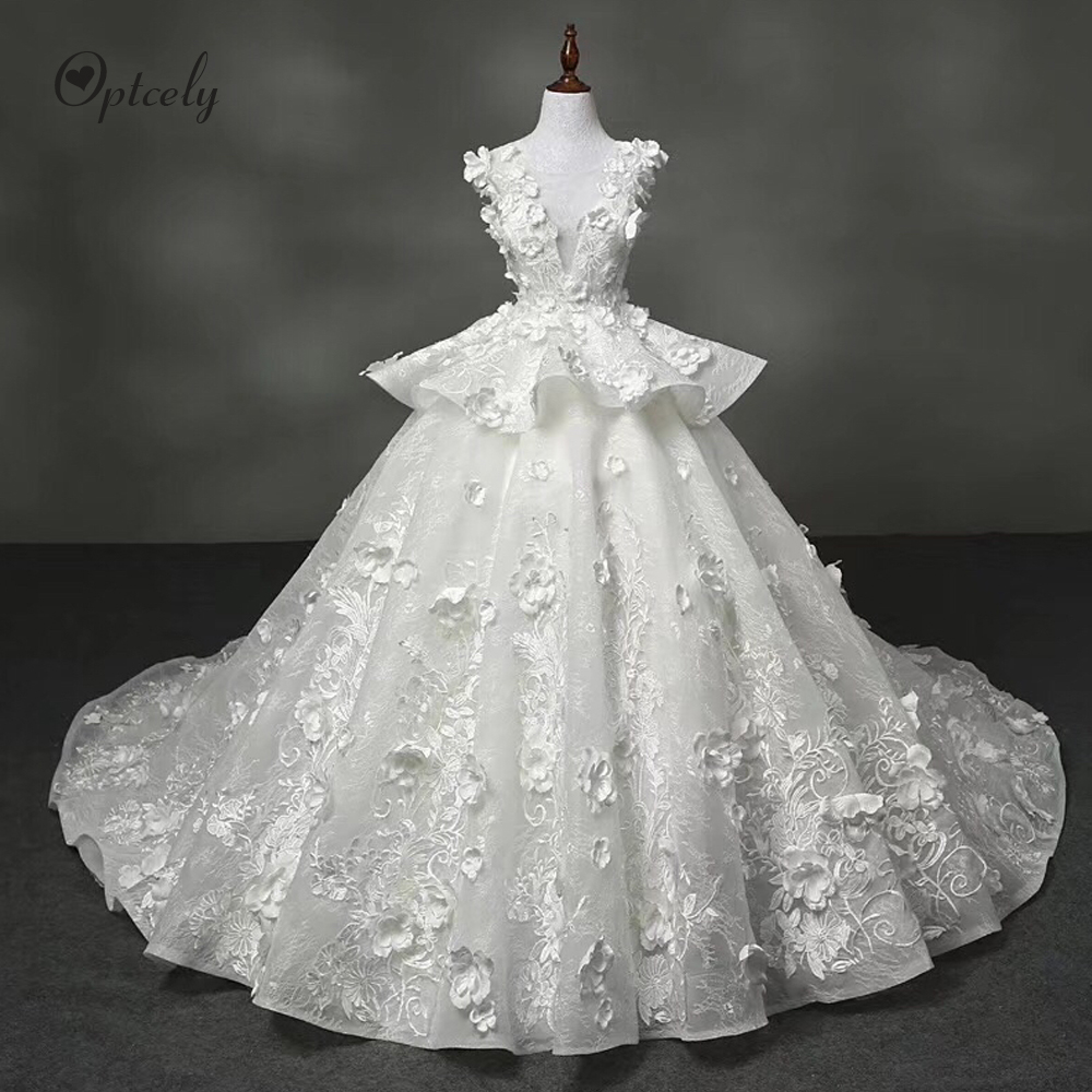 Optcely Fascinating Ball Gown Sleeveless Ivory O-Neck Beautiful Wedding Dress 2019 Lace Appliques Beading Sweep Train Plus Size
