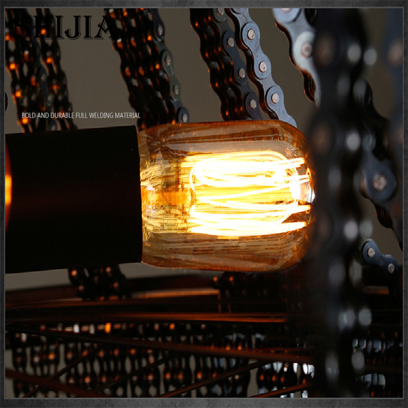 Retro Personality Creative Bicycle Chain Pendant light for Bar Restaurant Cafe Decoration Lighting - 6
