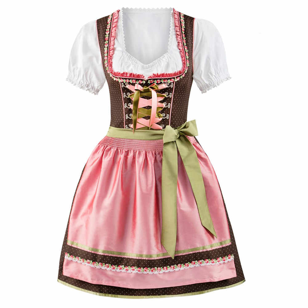 Damen Frauen Bier Maid Deutsch Dirndl Oktoberfest Kostüme Oktoberfest Party Phantasie Kleid