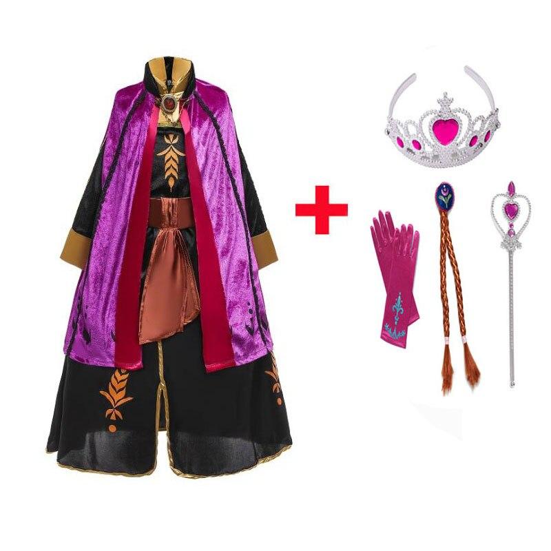Nova princesa anna vestido para meninas cosplay elsa traje crianças vestidos de festa fantasia elza vestidos de halloween conjunto roupas elsa 2