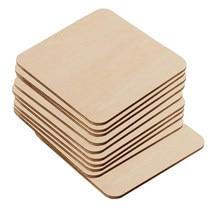 10 pces unfinished madeira madeira borda reta quadrado bloco cubo