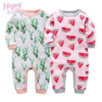 Honeyzone new born baby clothes 100% Cotton 3 6 9 12 Month roupa de bebe full sleeve baby girl pajamas kids boy rompers image