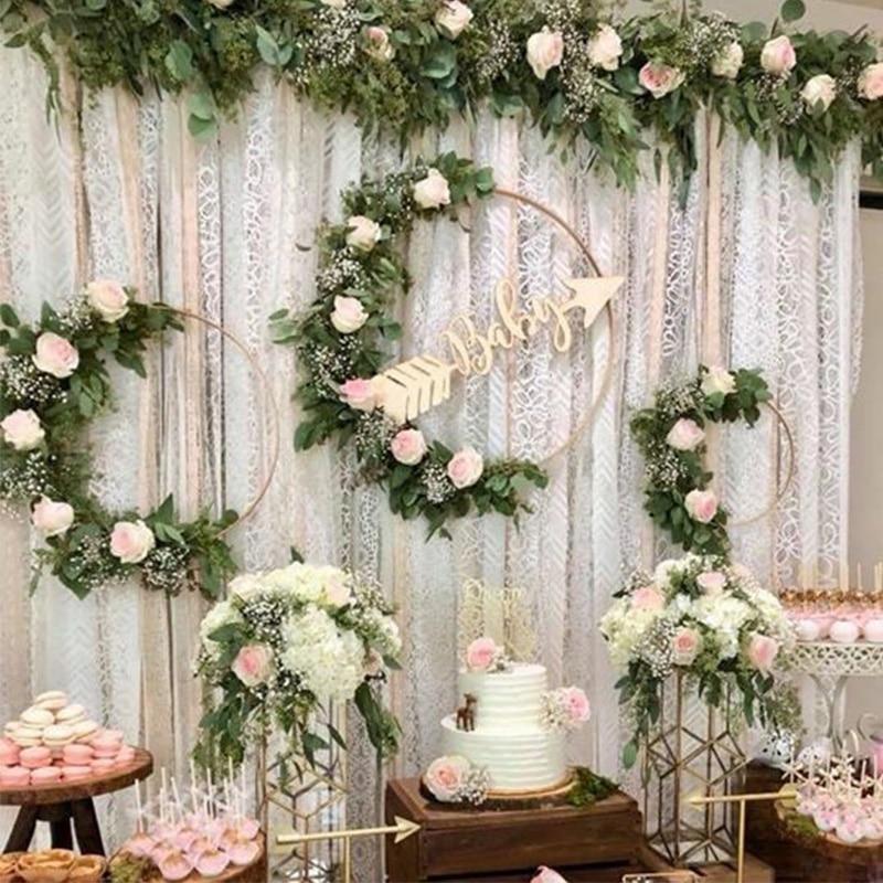 10-40cm Gold Iron Metal Ring Wreath Garland Wedding Decoration Baby Shower Floral Wreath Bride Flowers Dream Catcher Hoop Decor