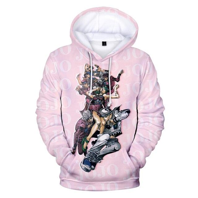 JoJo's Bizarre Adventure Hoodie Sweatshirt Harajuku Fashion Popular 3D Hoodies Men Women Basics Autumn Loose Hoodies JOJO Hoody 5