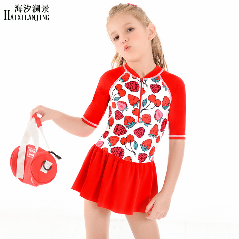 Hai Xi Lan Jing 2019 New Style GIRL'S Swimsuit Big Boy 3-12-Year-Old Half-sleeve Shirt Sun-resistant Skirt One-piece Swimming Su