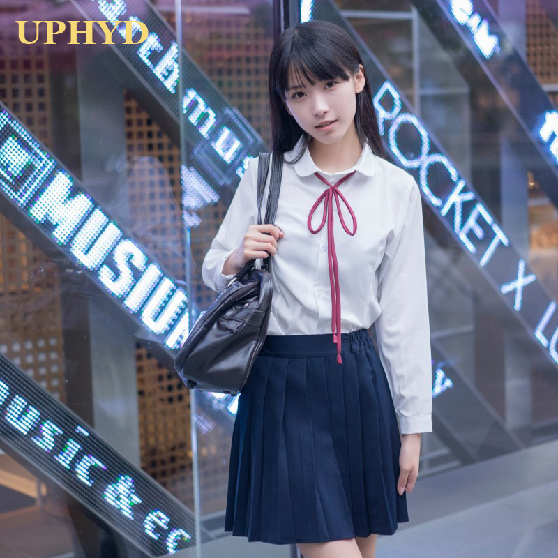 Hot Sale School Uniform For Girl Long Sleeve White Shirt Pleated Skirt Sets Spring Autumn Girls Formal Student Uniforms