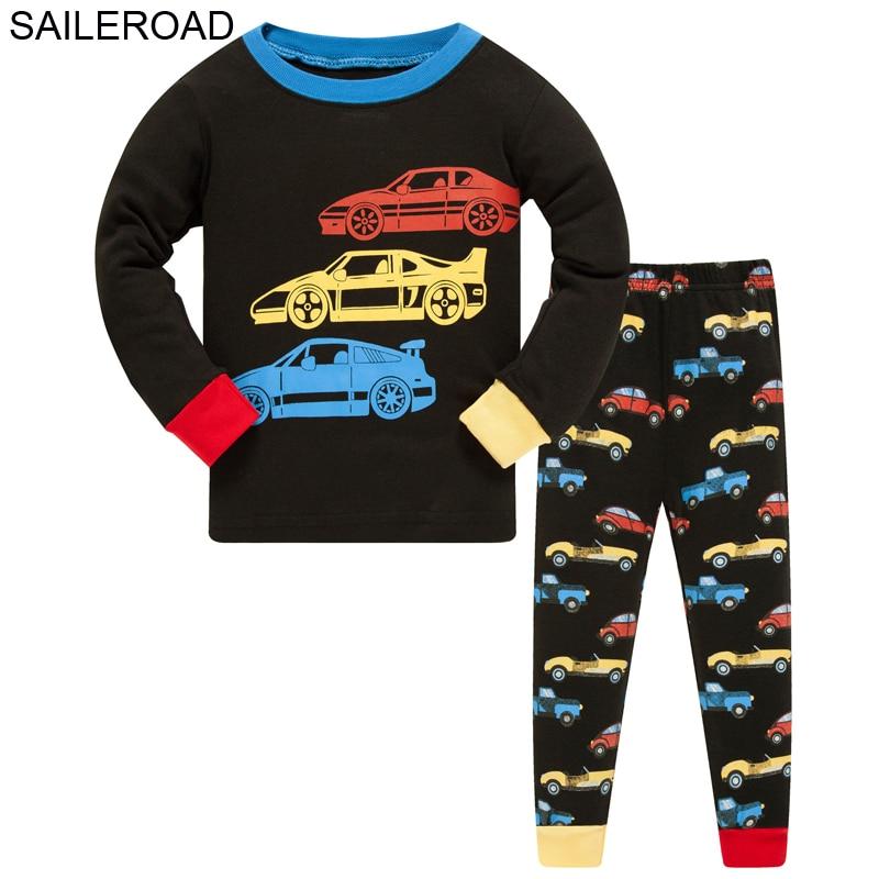 SAILEROAD Boys Nightwear 2020 Bulldozer Kids Pyjamas Suit Autumn Winter Baby Night Suit Cotton Children's Pajamas Sleepwear 3