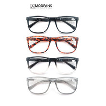 MODFANS Oversized Square Men Reading Glasses Rectangle Large Eyeglass For Male Readers Plastic Spring Highe Frame With Pouch