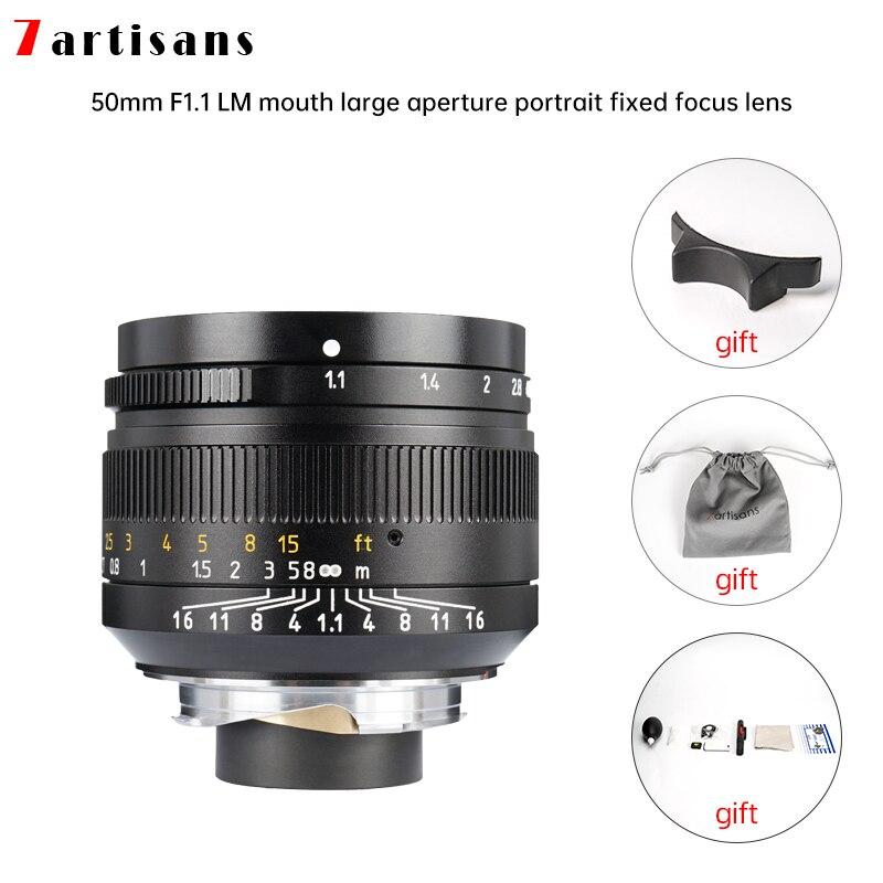 Lentes 7 artesanais 50mm f1.1abertura grande paraxial lentes m-montagem para câmeras m-m m240 m3 m5 m6 m7 m8 m9 m9p m10 frete grátis