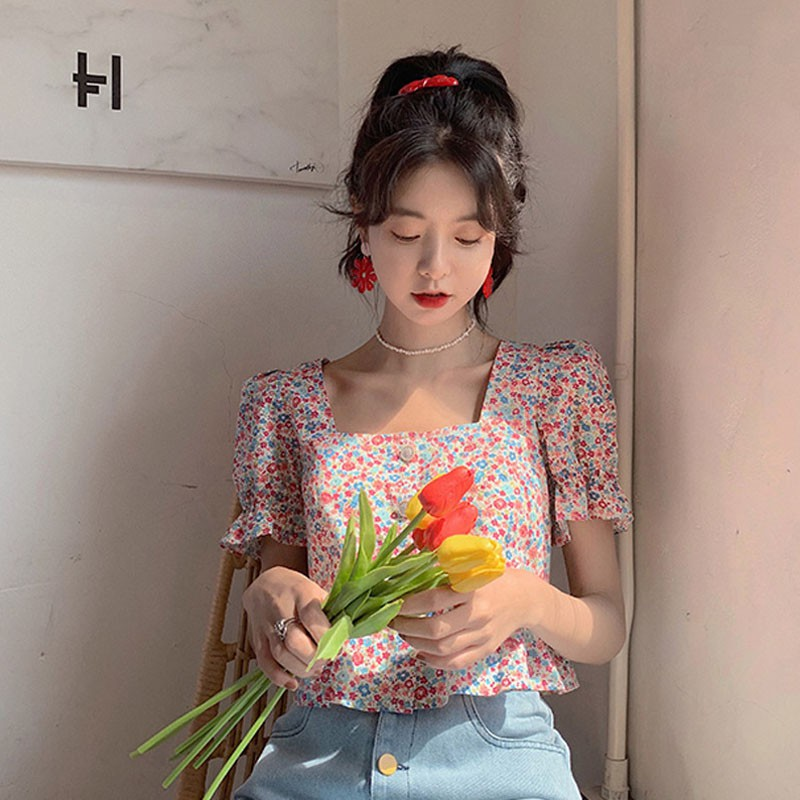 Summer Gentle Floral Blouse Female Crop Tops Retro Style Square Collar Petal Short Sleeve Shirt