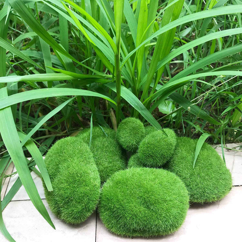 PQZATX 30PCS 3 Size Artificial Moss Rocks Decorative Green Moss Balls,for Floral Arrangements Gardens and Crafting