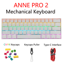 Anne Pro2 Gaming Mechanical Keyboard Wireless Bluetooth Gateron CAP Red Brown Blue Yellow Switch Gamer Keyboard Detachable Cable