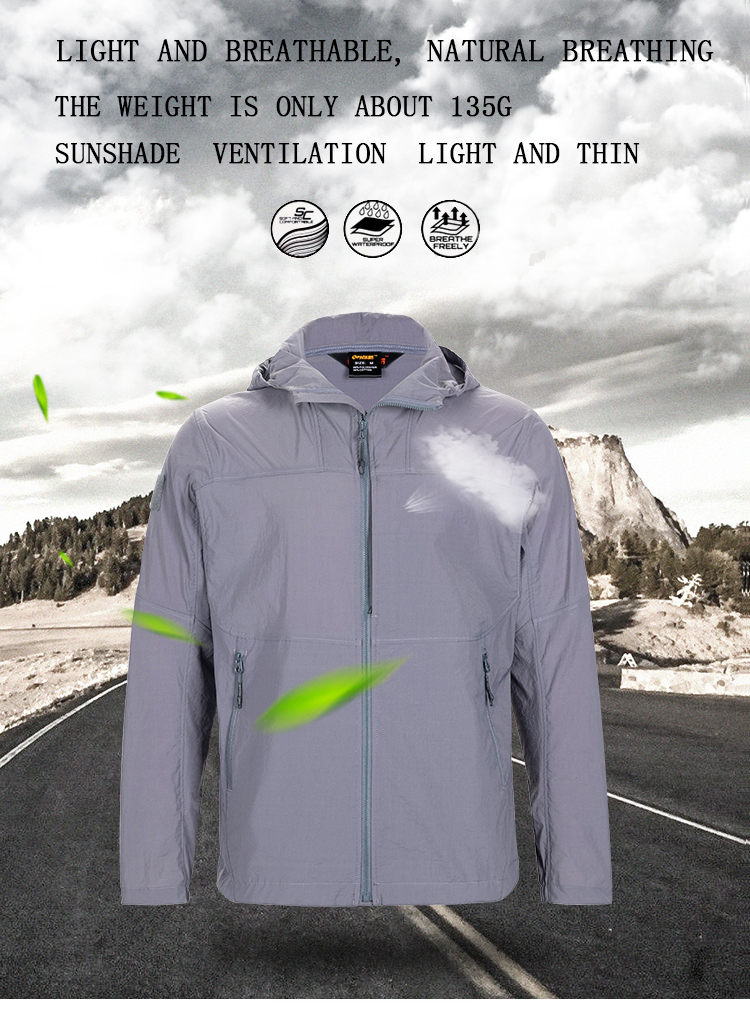 Tactical  Sport Men Sunscreen Light Soft Shell Jacket Single Layer Sportswear Outdoor Spring and Autumn