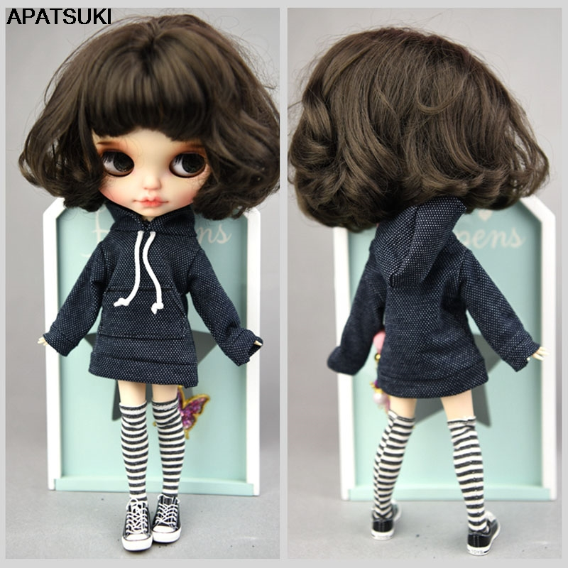 Dark Blue Handmade Sweatshirt For Blythe Doll Coat Fashion Doll Clothes For Blyth Doll Tops Gift Kids Toy 1/6 Dolls Accessories