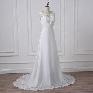 Image 4 - Jiayigong Cheap V neck White/Ivory Wedding Dresses Zipper Back Bridal Gowns Plus Size Vestido De Noiva Real Model Bride Dress