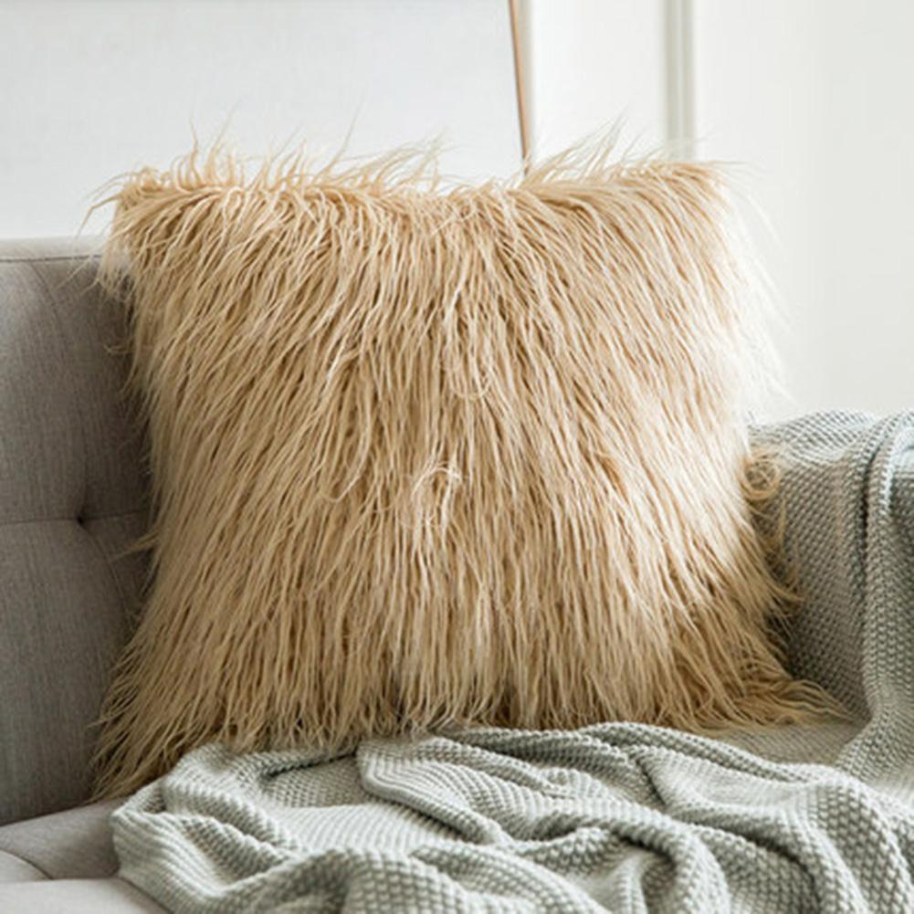 Fluffy Pillow Wool Cushions Fur Cushion Cover Ins Sofa Long Plush Bed Pillows Christmas Decorations Christmas Room Throw Pillow
