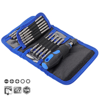 24 in 1 Household Screwdriver Set 1/4 inch Shank 100MM Extra Long Phillips Pozi Hex Torx Bits with Soft Rubber Handle