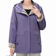 Woman Purple Blue Hooded Coat Plaid Pattern Hood Outerwear Female Autumn Spring Leisure Jackets Plus Size Outfits New Arrival